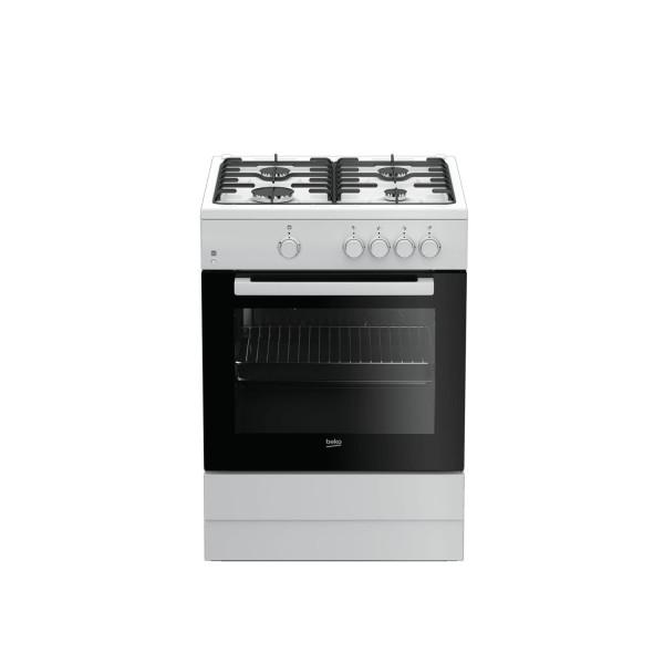 Beko FSG62000DWL - Cocina convencional 4 quemadores, blanco, horno gas
